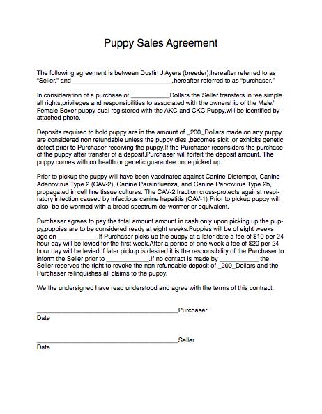 puppy sales agreement sample